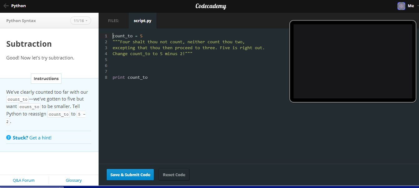 Codecademy offers courses in jquery javascript php python and ruby